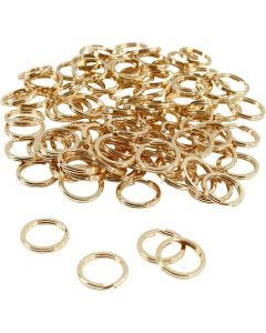 Split Ring, D: 15 mm, gold-plated, 100 pc/ 1 pack