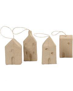 House, H: 9,5-12 cm, L: 5,5-6,5 cm, W: 3 cm, 4 pc/ 1 pack