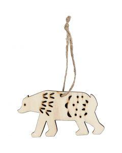 Ornament, polar bear, H: 4,5 cm, W: 7,5 cm, 4 pc/ 1 pack
