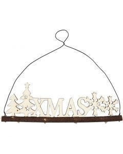 Christmas decoration, XMAS, H: 7 cm, W: 22 cm, 1 pc