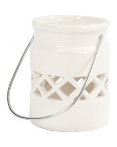 Lantern, H: 8 cm, D: 6,2 cm, white, 6 pc/ 1 box