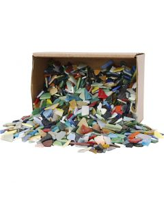 Mosaics, size 8-20 mm, assorted colours, 2 kg/ 1 pack