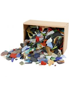 Mosaics, size 15-60 mm, assorted colours, 2 kg/ 1 pack