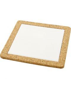 Trivet with cork frame, size 19x19 cm, white, 10 pc/ 1 box