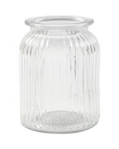 Glass Jar, H: 14,5 cm, D: 11 cm, hole size 7 cm, 6 pc/ 1 box