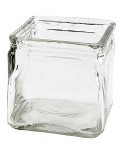 Square Candle Holder, H: 10 cm, size 10x10 cm, 12 pc/ 1 box
