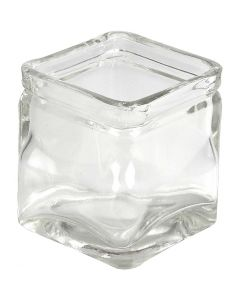 Square Candle Holder, H: 5,5 cm, size 5,5x5,5  cm, 12 pc/ 1 box