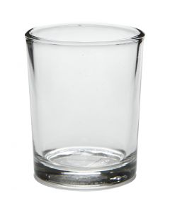 Tealight holder in glass, H: 6,5 cm, D: 4,5 cm, 4 pc/ 1 pack