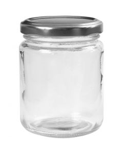 Storage Glass Jar, H: 9,1 cm, D: 6,8 cm, 240 ml, transparent, 12 pc/ 1 box