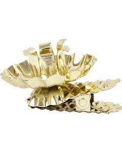 Clip on candle holder, D: 40 mm, gold-plated, 8 pc/ 1 pack