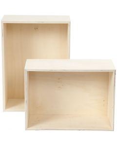 Storage Boxes, H: 27+31 cm, W: 19,5+22,5 cm, 2 pc/ 1 set