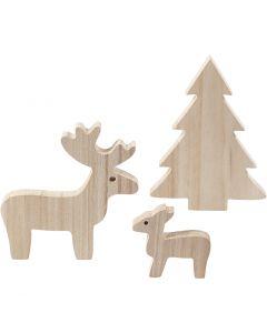 Deer and spruce, H: 6+12+15 cm, 1 set