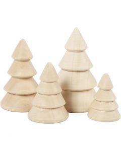 Christmas Trees, H: 3,3+4,3+5,3+6,3 cm, D: 2,3+3+3,2+4 cm, 4 pc/ 1 pack