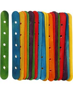 Sticks with holes, L: 15 cm, W: 1,8 cm, hole size 4 mm, assorted colours, 20 asstd./ 1 pack