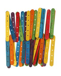 Sticks with holes, L: 15 cm, W: 1,8 cm, hole size 4 mm, assorted colours, 500 asstd./ 1 pack