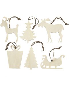 Christmas Ornaments, size 7-9 cm, thickness 4 mm, 6 pc/ 1 pack