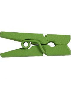 Mini Clothes Peg, L: 25 mm, W: 3 mm, green, 36 pc/ 1 pack