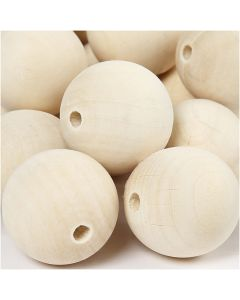 Wooden Bead, D: 35 mm, hole size 6 mm, 50 pc/ 1 pack