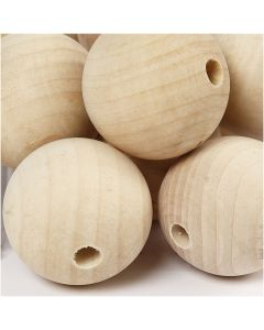 Wooden Bead, D: 40 mm, hole size 7 mm, 30 pc/ 1 pack