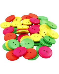 Wooden Buttons, D: 25 mm, hole size 2 mm, 80 pc/ 1 pack