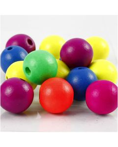 Neonmix Wooden Beads, D: 16 mm, hole size 3 mm, 500 g/ 1 pack