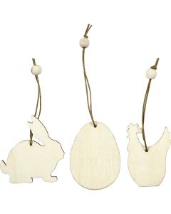 Wooden Ornament, rabbit, egg, hen, size 6 cm, thickness 3 mm, 9 pc/ 1 pack