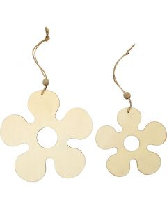 Wooden Ornament, flower, D: 12,3+16,5 cm, thickness 5 mm, 2 pc/ 1 pack