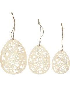 Ornaments, H: 8+10+12 cm, W: 6+7,5+9 cm, 3 pc/ 1 pack