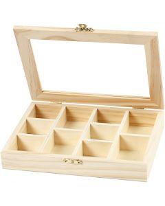 Box with Glass Lid, size 15,5x20,5x3,5 cm, 1 pc