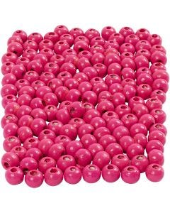 Wooden Beads, D: 5 mm, hole size 1,5 mm, pink, 6 g/ 1 pack, 150 pc