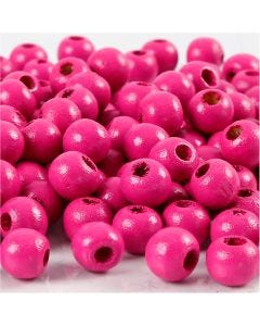 Wooden Beads, D: 8 mm, hole size 2 mm, pink, 15 g/ 1 pack, 80 pc