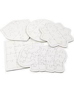 Jigsaw Puzzle, size 17-21 cm, white, 10 pc/ 1 pack