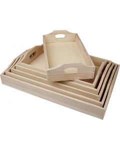 Trays, H: 5 cm, L: 29+32+35+38+41+44 cm, W: 16,5+19+22+25+27+30 cm, 6 pc/ 1 set