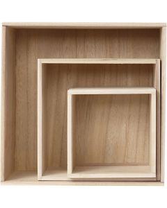 Storage Boxes, H: 15x15+21,5x21,5+28x28 cm, 3 pc/ 1 set