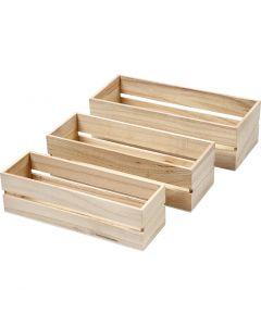 Wood Boxes, H: 6,5+7+7,5 cm, L: 22+23,5+25 cm, W: 7+8,5+10 cm, 3 pc/ 1 set
