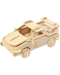 3D Wooden Construction Kit, car, size 13x9x6 cm, 1 pc