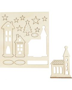 Self-assembly Figures, christmas city, L: 20 cm, W: 17 cm, 1 pack