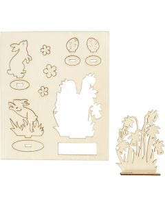 Self-assembly Figures, hares and flowers, L: 20 cm, W: 17 cm, 1 pack