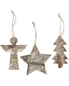 Christmas ornaments, H: 10 cm, W: 8 cm, 3 pc/ 1 pack