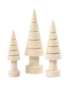 Christmas trees, H: 5+6+7 cm, D: 14+18+22 mm, 3 pc/ 1 pack