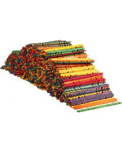 Sticks with holes, L: 11,4 cm, W: 10 mm, assorted colours, 1000 pc/ 1 pack