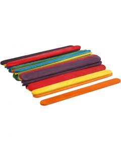 Wood Sticks, L: 11,4 cm, W: 10 mm, assorted colours, 30 pc/ 1 pack