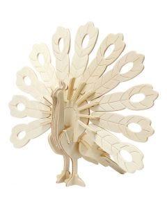 3D Construction figure, peacock, size 10x20,5x17,5 cm, 1 pc