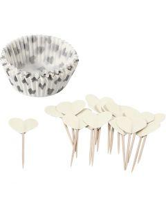 Cupcake cases and picks, H: 3 cm, D: 5 cm, 40 g, off-white, 24 set/ 1 pack