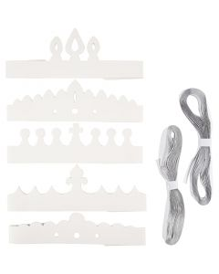 Crowns, H: 10-16,5 cm, L: 60 cm, 230 g, white, 50 pc/ 1 pack