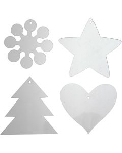 Acrylic ornaments, H: 7-8,5 cm, thickness 2 mm, 40 pc/ 1 pack