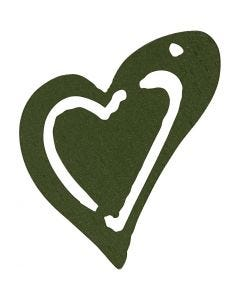 Heart, size 25x22 mm, dark green, 20 pc/ 1 pack
