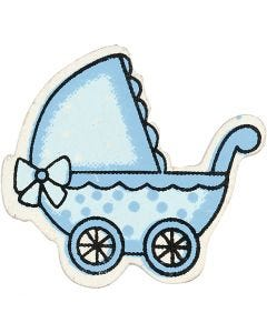 Pram, size 34x31 mm, light blue, 10 pc/ 1 pack