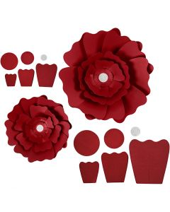 Paper Flowers, D: 15+25 cm, 230 g, red, 2 pc/ 1 pack