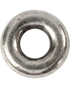 Spacer Bead, D: 9 mm, hole size 4 mm, antique silver, 15 pc/ 1 pack